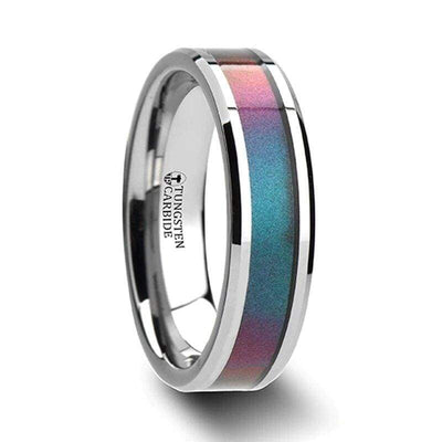 Fabienne Blue & Purple Tungsten Wedding Band Set w/ Color Changing Inlay 4mm-10mm