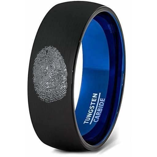 Finger Print Laser Engraved Two-Tone Black Tungsten Ring Brushed Finish - 8mm