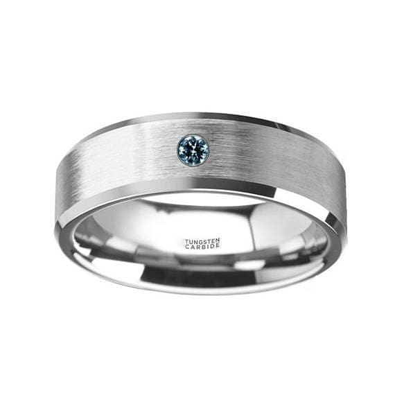 Flat Tungsten Wedding Band W/ Blue Diamond Setting with Beveled Edges 6mm & 8mm