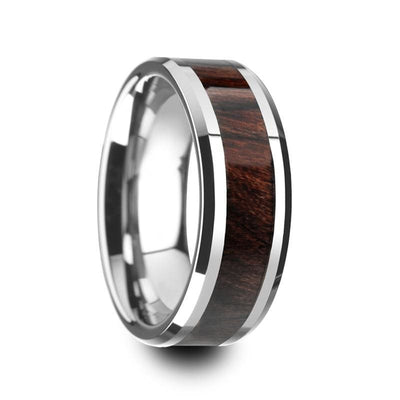 Genuine Bubinga Wood Inlaid Tungsten Carbide Ring With Beveled Edges 8mm