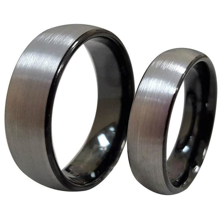 Gorgeous Tungsten Ring Set With Curved Brush Finish and Black Inside - 6mm & 8mm