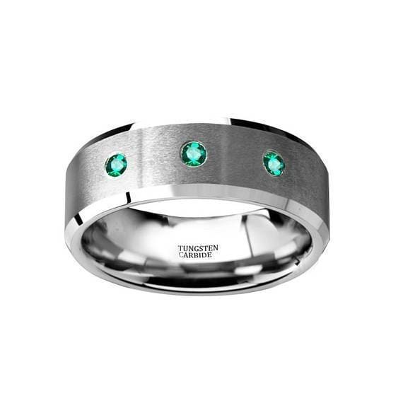 Green Emerald Silver Tungsten Wedding Ring Brushed Beveled Edges w/ 3 Emeralds - 8mm