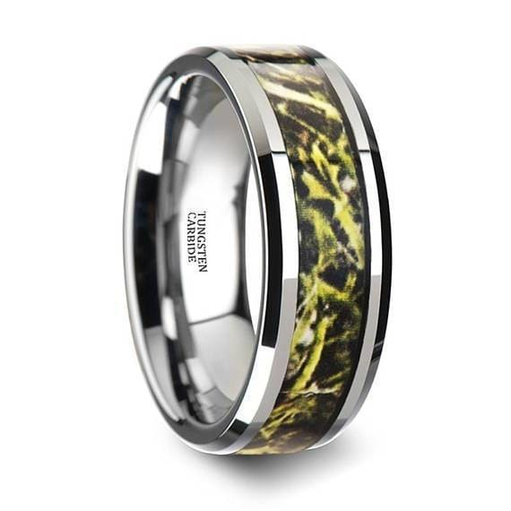 Green Marsh Camo Tungsten Wedding Ring Beveled Polished Finish - 8mm