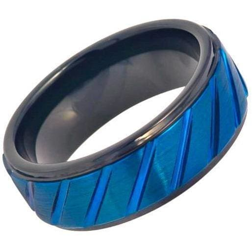 Grooved Finish Center Tungsten Ring Prussian Blue IP Plated Diagonally & Black IP Inner Stepped Edge - 8mm