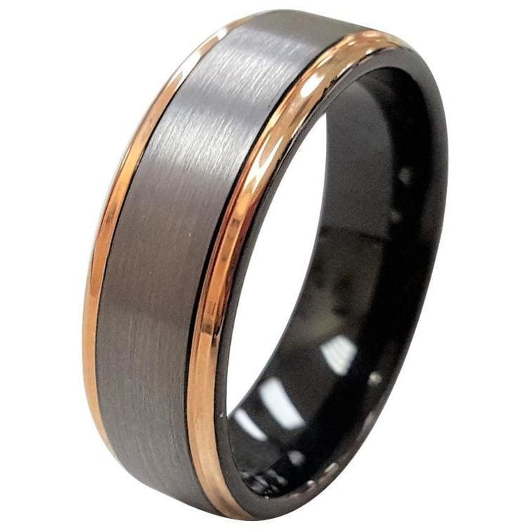 Henley Tungsten Wedding Band With Grey Brushed Center and Rose Gold Plated Edges 6mm & 8mm