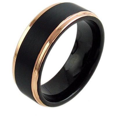 Honovi Exquisite Black Tungsten Ring Rose Gold Stepped Edges & Brushed Center 6mm - 8mm