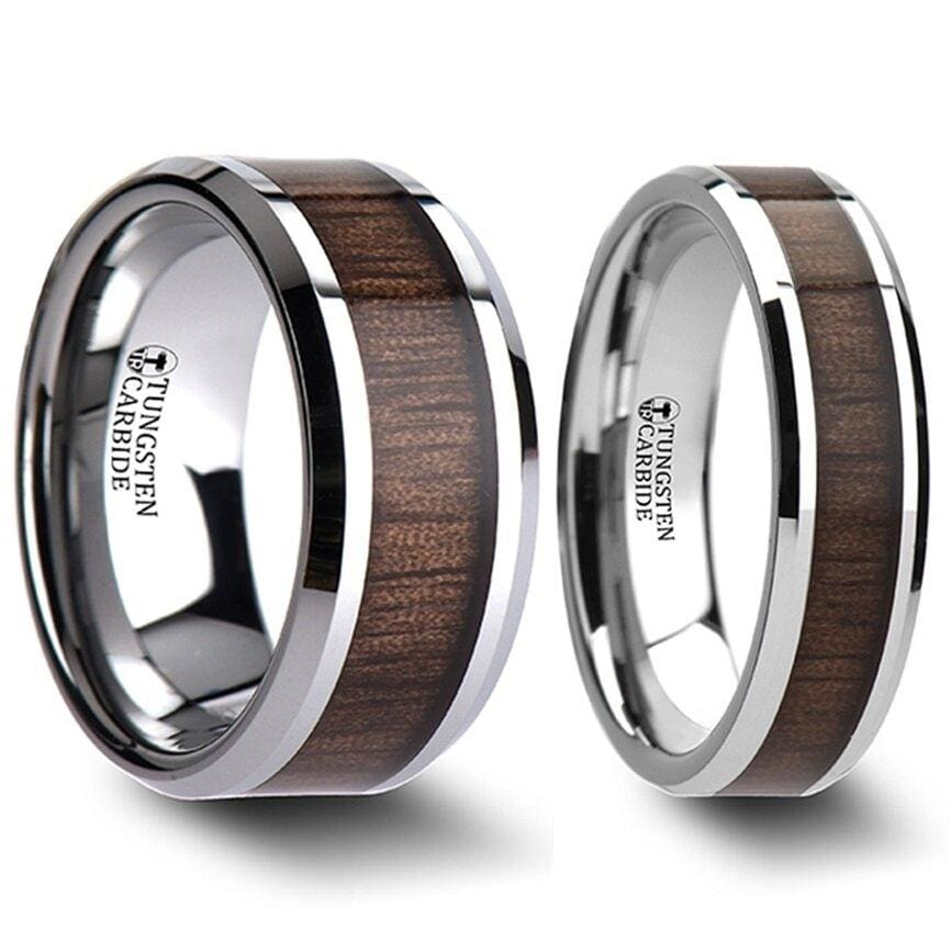 Ichiru Black Tungsten Wedding Band Set With Walnut Wood Inlaid - 4mm - 12mm