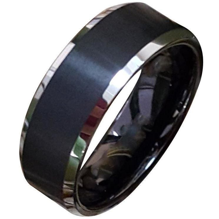 Imani Exquisite Black Tungsten Ring With Brushed Finish and Silver Beveled Edges 8mm