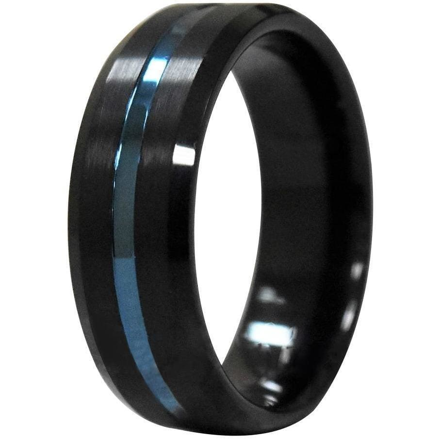 JALEN Black Tungsten Carbide Ring w/ Ion Plated Blue Stripe and Beveled Edges - 6mm & 8mm