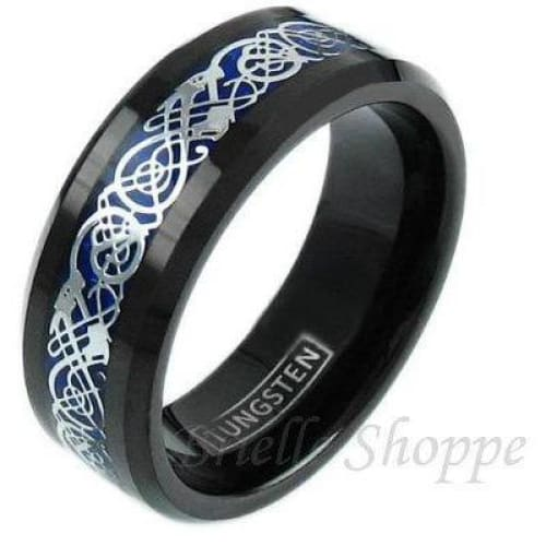Jennis Tungsten Carbide Ring With Silver Celtic Dragon On Deep Dark Blue Inlay 8mm