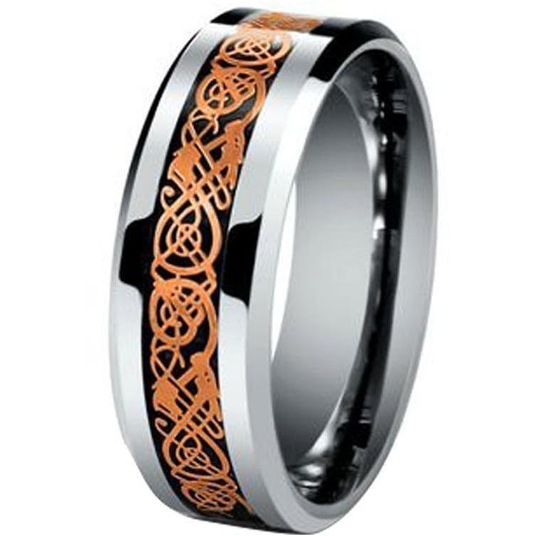 Kai Exquisite Tungsten Carbide Wedding Ring W/ Rose Gold Celtic Dragon Inlay - 8mm