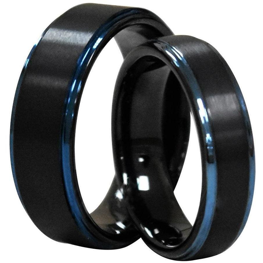 Karel Black Tungsten Carbide Ring With Blue Stepped Edges and Brushed Finish - 6mm & 8mm