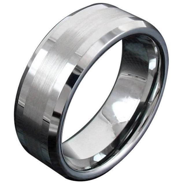 Kellan Tungsten Carbide Ring With Thin Brushed Center and High Polished Beveled Edges 8mm