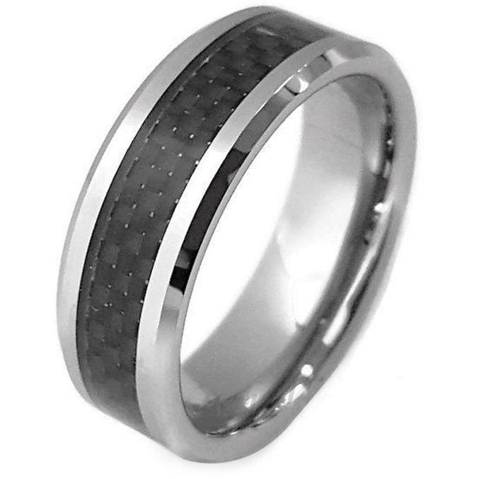 Kendal Tungsten Wedding Band with Stunning Checkered Black Carbon Fiber Inlay 8mm