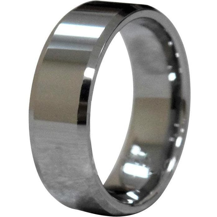 Kenzie Mens Tungsten Wedding Band With High Polished Center and Beveled Edges 8mm