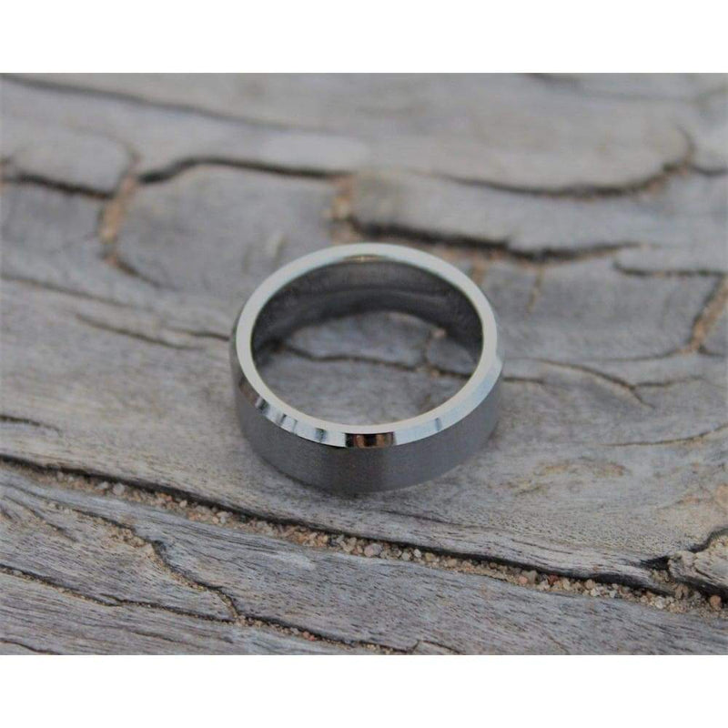 Keran Tungsten Carbide Wedding Band With High Polished Beveled Edges and Brushed Center 6mm & 8mm