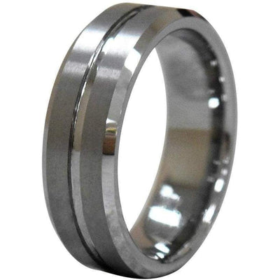 Kinsey Mens Tungsten Wedding Band With Brushed Grooved Center and Beveled Edges 8mm