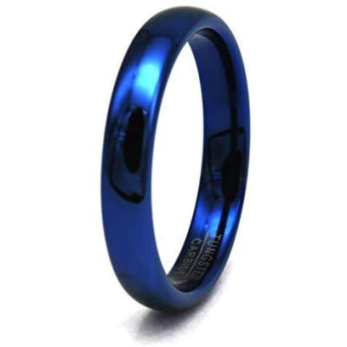 LANCE Women's Domed Highly Polished Blue Tungsten Carbide Ring 4mm & 6mm