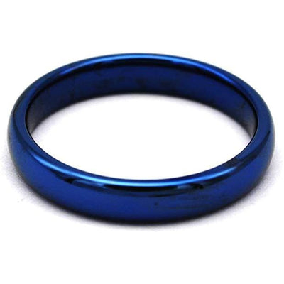 LANCE Womens Domed Highly Polished Blue Tungsten Carbide Ring 4mm & 6mm