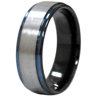 Leal Tungsten Wedding Band W/ Raised Brushed Center and Stepped Blue Edges 6mm & 8mm