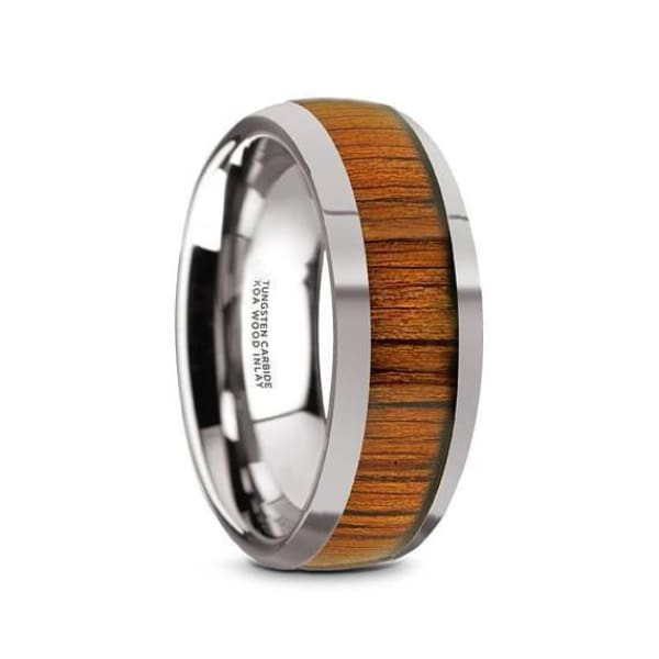 Leo Mens Round Tungsten Wedding Ring With Genuine Koa Wood Inlay - 8 mm