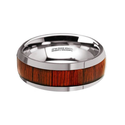 Levi Mens Round Tungsten Carbide Wedding Band With Padauk Wood Inlay - 8 mm