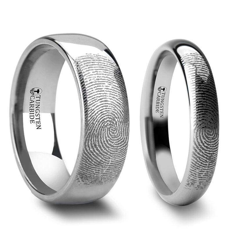 Liam Tungsten Wedding Band Set With Custom Fingerprint Engraved - 4mm - 12mm