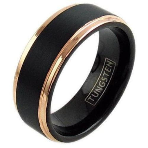 Linden Black Tungsten Wedding Band Set With Rose Gold Plated Stepped Edges - 6mm & 8mm