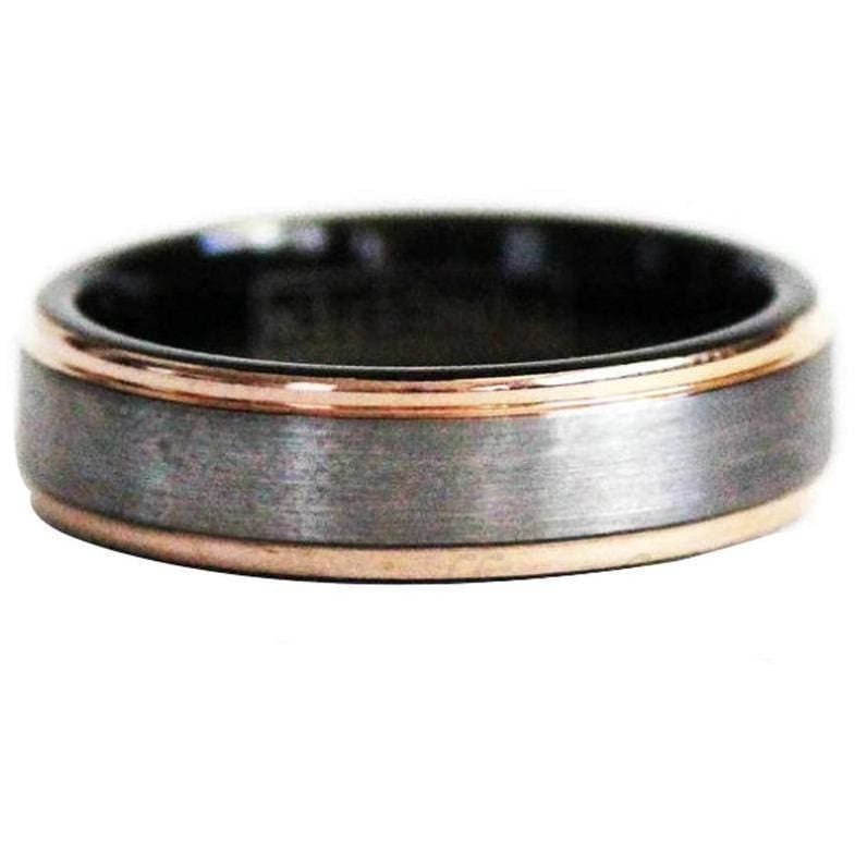 London Couples Tungsten Ring Set With Rose Gold Inlaid Stepped Edges and Brushed Center