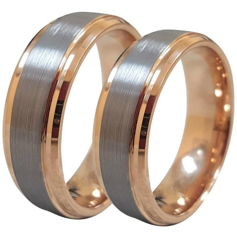 Lorin Tungsten Carbide Ring Set With Rose Gold Inside and Stepped Edges - 6mm & 8mm