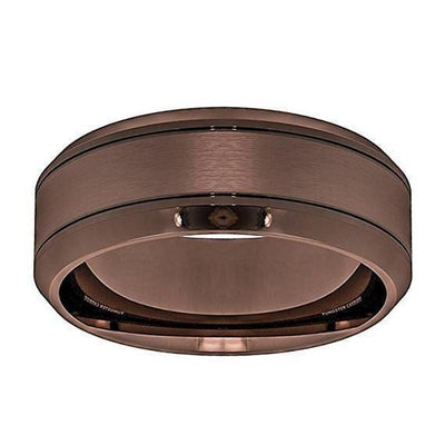 Marcus Mens Brown Tungsten Wedding Band With Beveled Edges - 8 mm