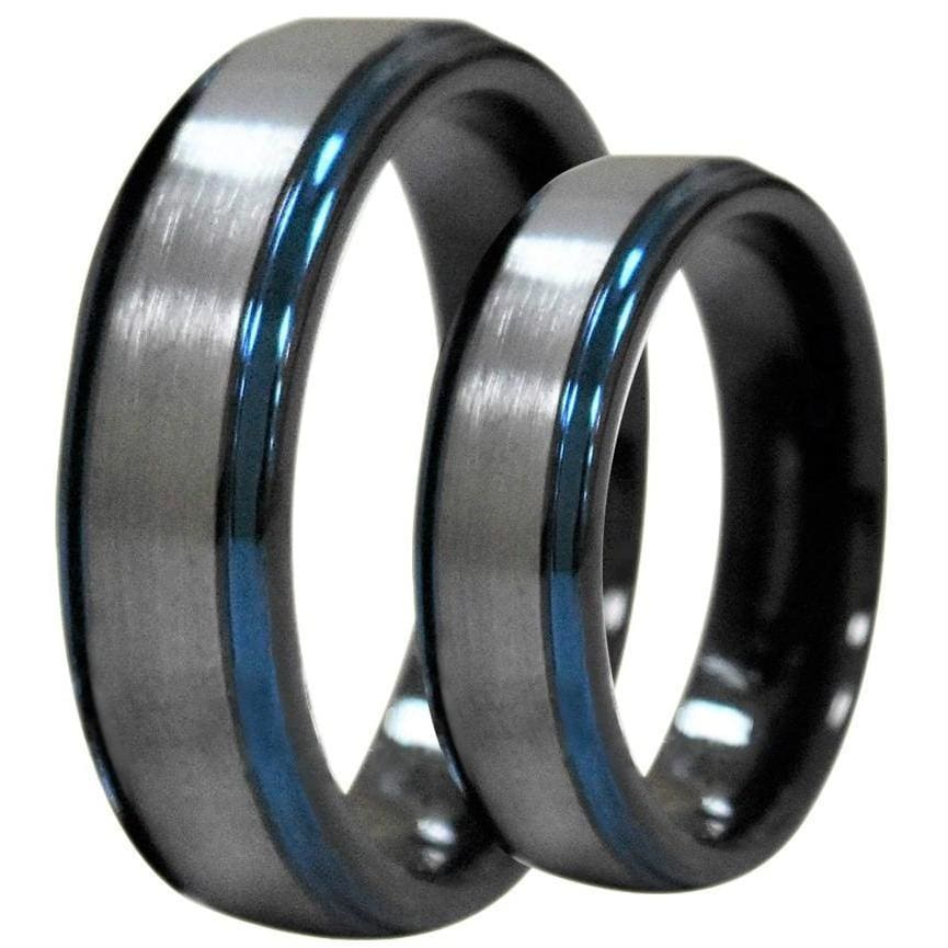 Margit Tungsten Wedding Band Set With Ion Plated Blue Stepped Edges - 6mm & 8mm