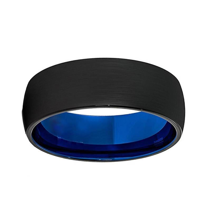 Men Domed Black Tungsten Wedding Ring With Brushed Center Blue Inside 6mm & 8mm