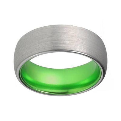 Mens Acid Green Tungsten Wedding Ring Brushed Silver Inlay- 8mm
