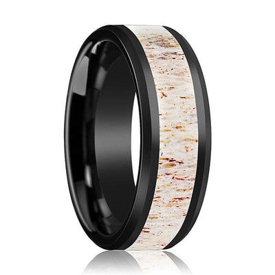 Mens Beveled Black Ceramic Wedding Band W/ White Antler Inlay - 8mm