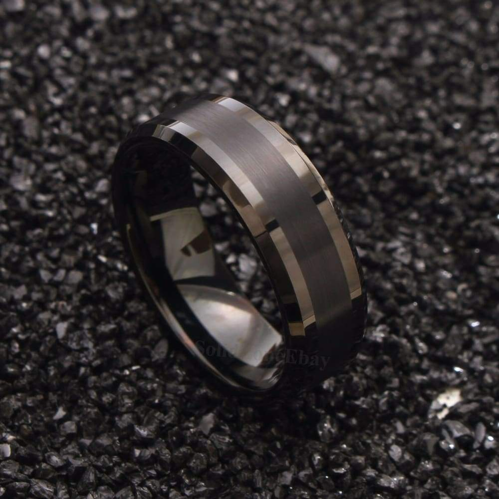 High Polish Tungsten Wedding Band Black Pipe Cut Brushed Center Flat Edge - 8mm