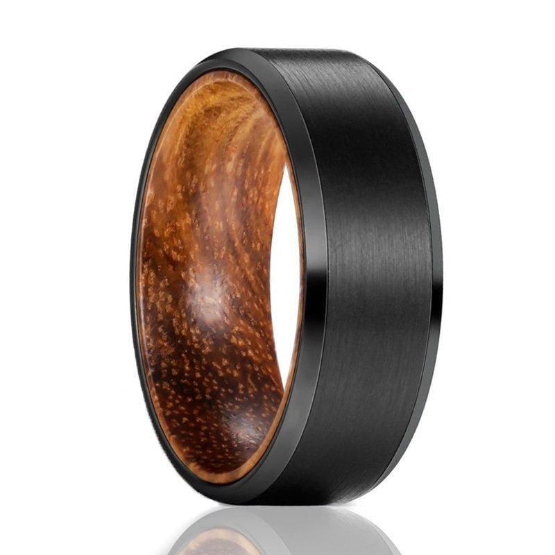 Mens Beveled Black Tungsten Wedding Band with Zebra Wood Sleeve - 8mm
