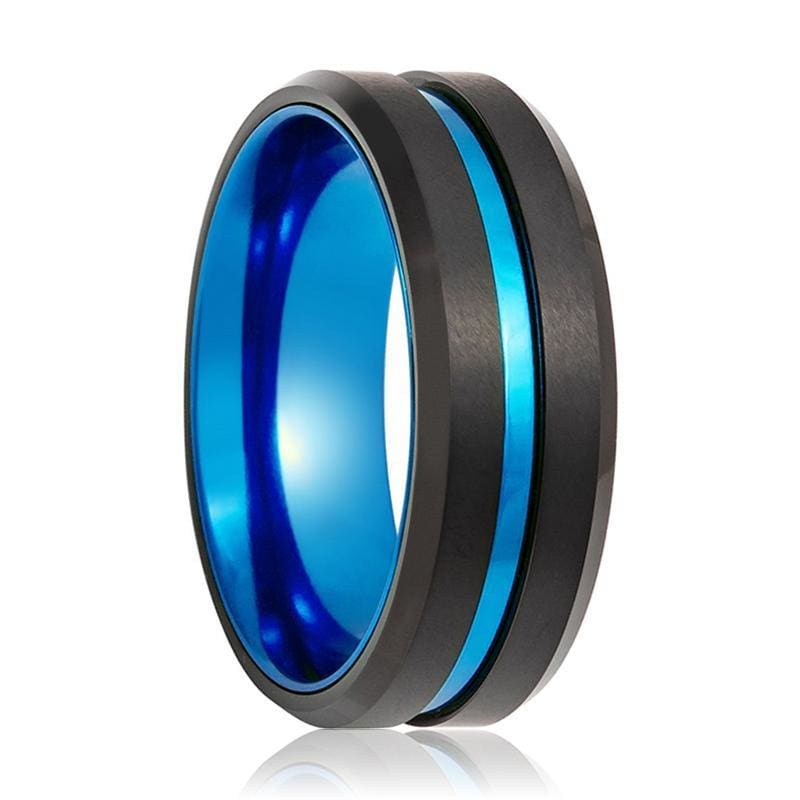 Men's Beveled Sky Blue Grooved Black Tungsten Carbide Wedding Band - 8mm