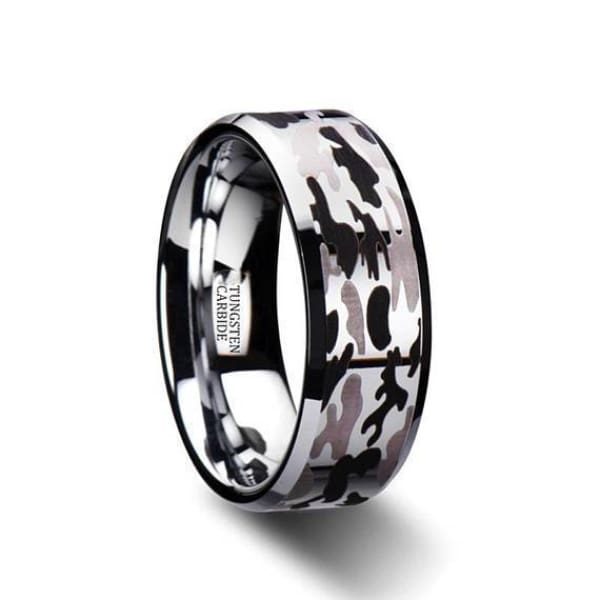 Mens Beveled Tungsten Black & Grey Camo Pattern Wedding Ring - 8 mm