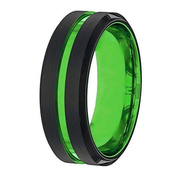 Mens Black and Acid Green Tungsten Carbide Wedding Band Beveled Edges 6mm & 8mm