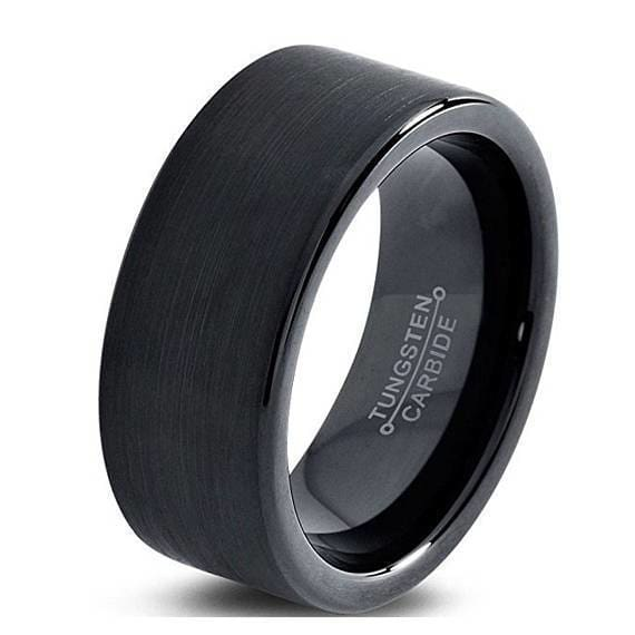 Mens Black Brushed Pipe Cut Tungsten Carbide Wedding Band - 7mm 9mm & 12mm