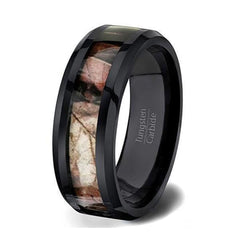 Mens Black Carbide Tungsten Wedding Ring Forest Camo Comfort Fit Beveled Edge - 8mm