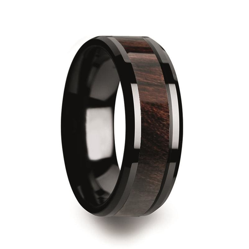 Mens Black Ceramic Wedding Band With Bubinga Wood Inlay & Beveled Edges - 8mm