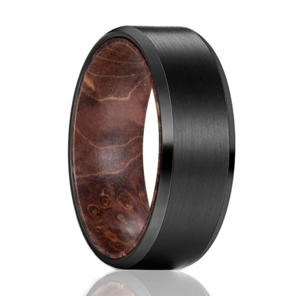 Mens Black Tungsten Carbide Band with Dark Box Elder Wood Sleeve - 8mm