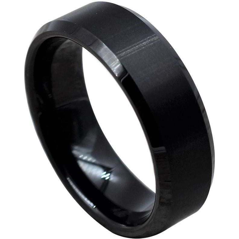 Mens Black Tungsten Carbide Ring With Brushed Finish and Beveled Edges - 6mm & 8mm