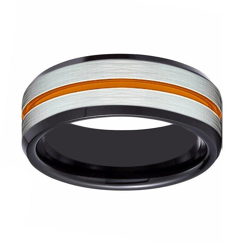 Mens Black Tungsten Carbide Ring with Brushed Silver Center and Orange Groove 8mm