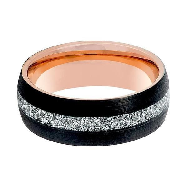 Mens Black Tungsten Carbide Ring With Rose Gold & Meteorite Inlay 8mm