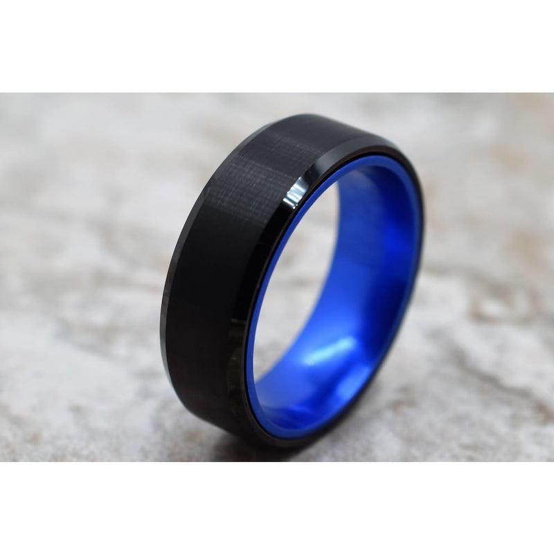 Mens Black Tungsten Carbide Ring With Royal Blue Anodized Aluminum Inner Band 8mm