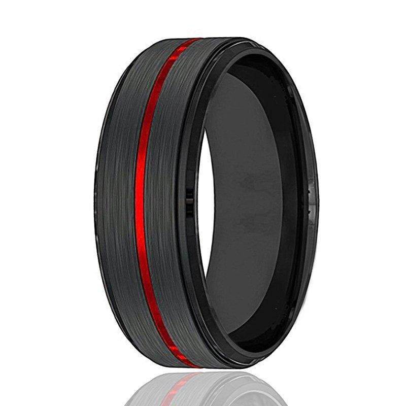 Men's Black Tungsten Carbide Wedding Band With Fire Red Grooved Center 8mm
