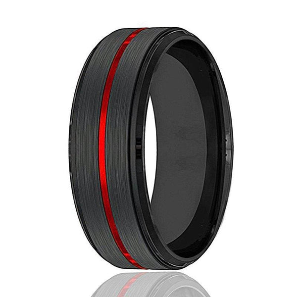 Mens Black Tungsten Carbide Wedding Band With Fire Red Grooved Center 8mm